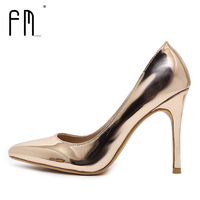 FEDIMIRO 9 5CM High Heel Shoes Woman Patent Leather Shallow Mouth Thin Heels Sexy Pointed Toe