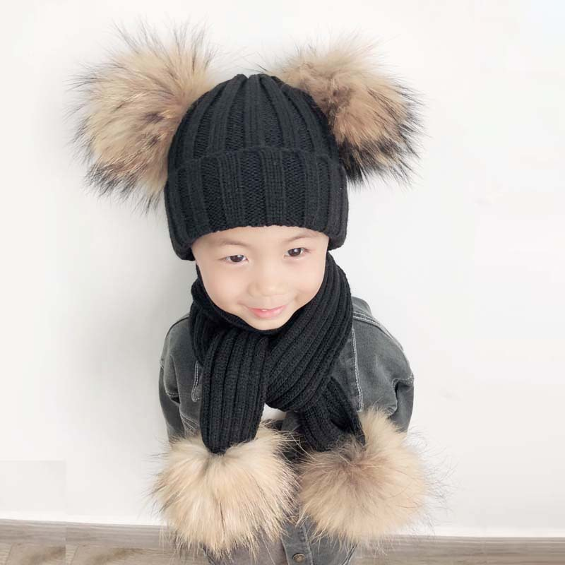 4 Pieces Pompom Hat Scarf Kids Winter Beanie Boys Girls Winter Cap Children Real Fur Pompom Hats Baby Knitted Hat And Scarf Set