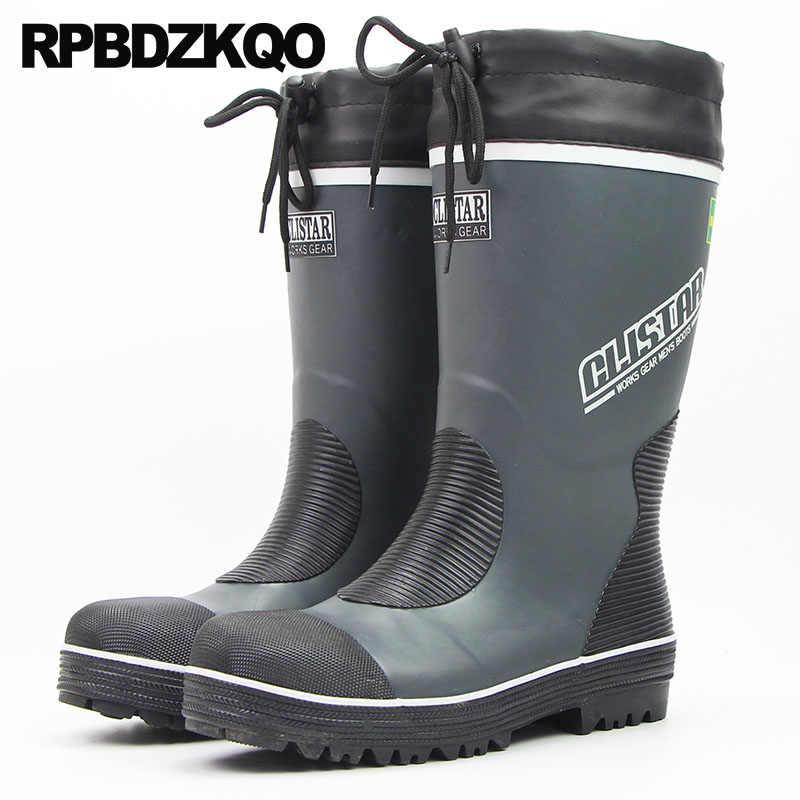 0322a5749248 Shoes Rainboots Waterproof Steel Toe Pvc Fur Plus Size Durable Rain Tall  Cheap Winter Rubber Fishing
