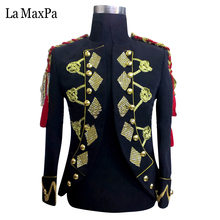 La MaxPa 2017 male singer costume Membership bar Nightclub Jacket DJ stage carry out Aureate equipment Males's Vogue slim go well with yy47