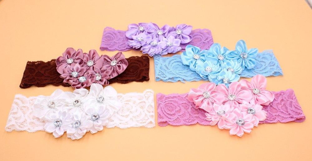 Fashion Beautiful Children Flower Hair Band Baby Cute Hair Hoop Boutique Rhinestone Head Band Girls Hair