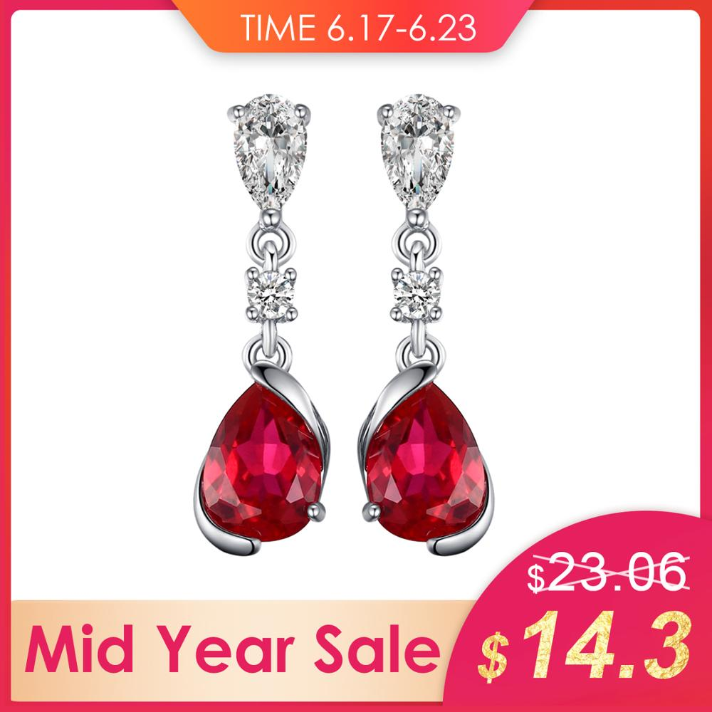 JewelryPalace Drop Earrings For Women 2.4ct Red Created Ruby 925 Sterling Silver 2019 New Fashion Earrings Wedding Fine JewelryJewelryPalace Drop Earrings For Women 2.4ct Red Created Ruby 925 Sterling Silver 2019 New Fashion Earrings Wedding Fine Jewelry
