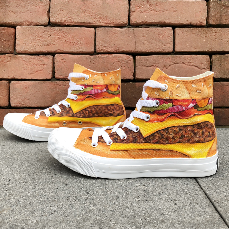 Wen Shoes Cheese Vegetable Hamburger Designs Sneakers Sewing Canvas Hand Painted Shoes Mens Big Size Womens Lace up Plimsolls