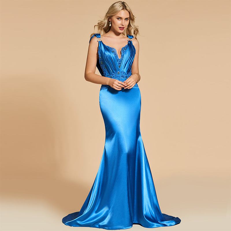 Tanpell backless evening dress blue beading lace sleeveless floor length sweep train gown women custom mermaid