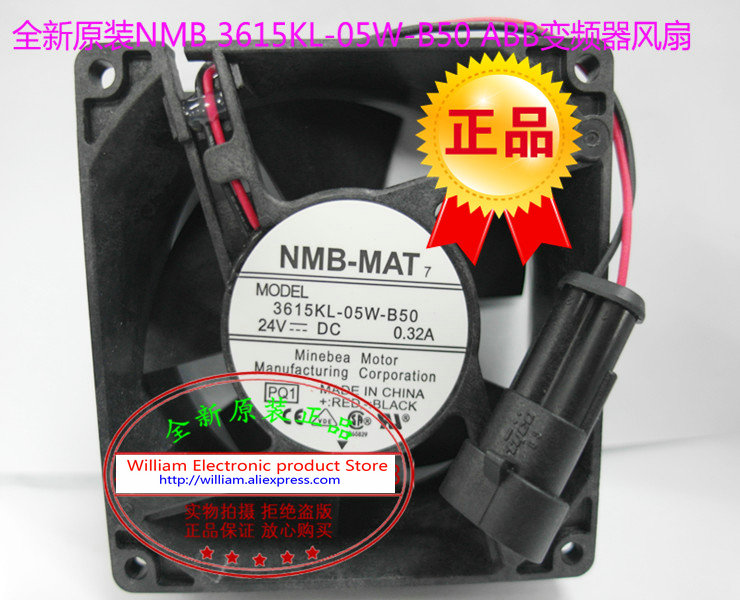 New Original NMB 3615KL-05W-B50 24V 0.32A 92*92*38MM 9cm for ABB Inverter dedicated cooling fan genuine spare parts abb acs800 90 90 38mm 24v 0 32a 2 line waterproof fan pq1 3615 kl 05w b50