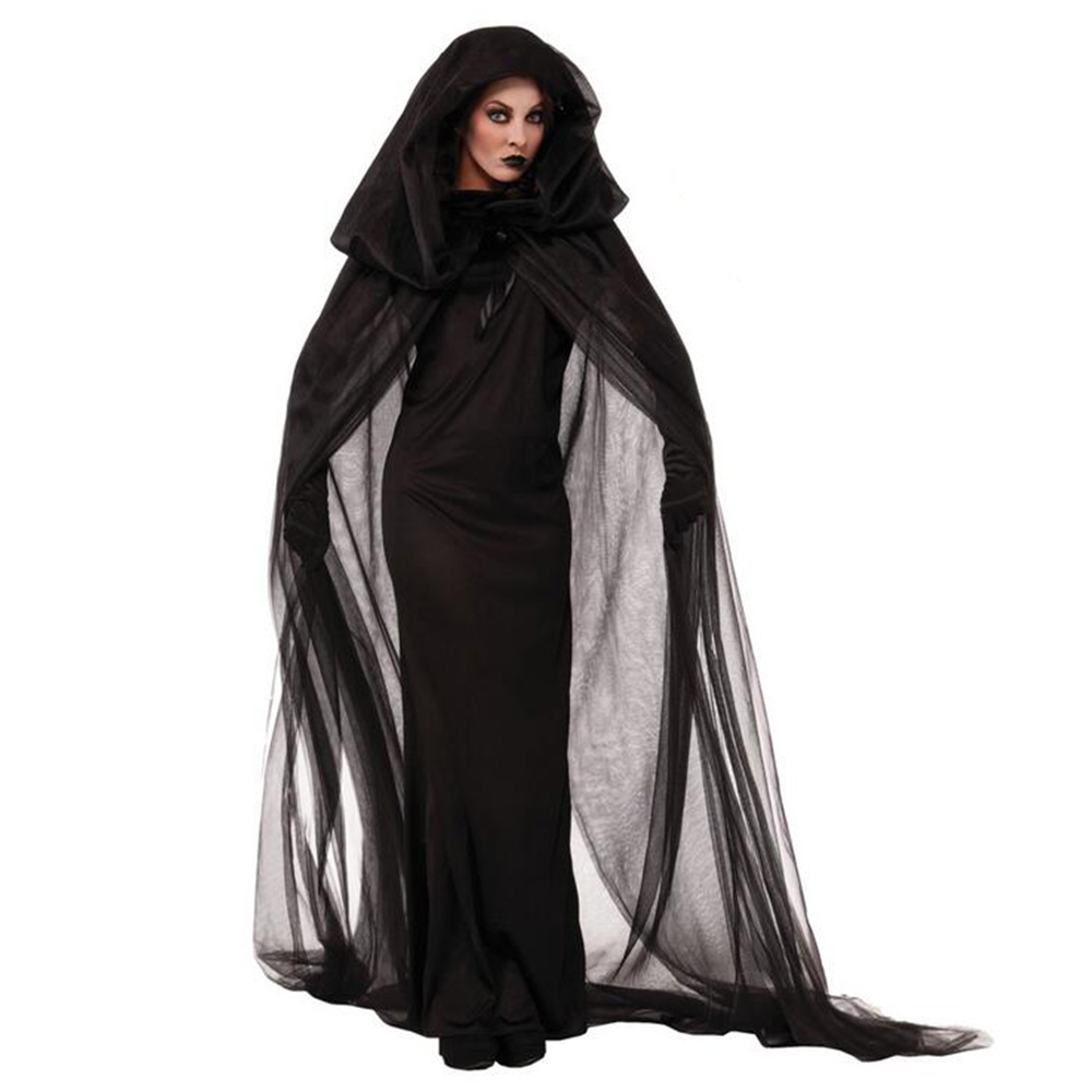 Halloween Purim Carnival Black Gothic Witch Costume Costumes for Women Adult Fantasia Black Long Dress Cosplay