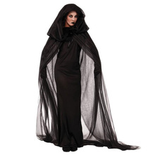 Halloween Purim Carnival Black Gothic Witch Costume Costumes for Women Adult  Fantasia Black Long Dress Cosplay Clothing