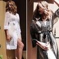 Women Lace Robe Dress Satin Lingerie Babydoll Bath Robe Sleepwear Underwear Nightwear Sexy