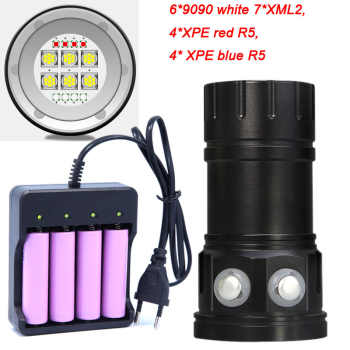 Diving 6*7*XM-L2 Flashlight 18650 Torch Underwater Photography Lights Video Lamp White Red Blue LED Scuba Photo Fill lighting - DISCOUNT ITEM  31% OFF All Category