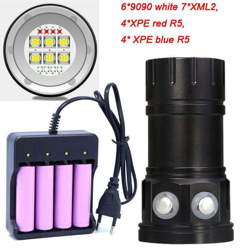 Plongée 6*7 * XM-L2 lampe de Poche 18650 Torche Sous-Marine Photographie Lumières Vidéo Lampe Blanc Rouge Bleu LED Plongée Photo remplir éclairage