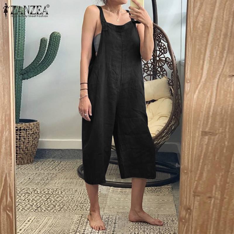 S 5XL ZANZEA Casual Jumpsuit 2019 Women Party Playsuits Summer Solid Wide Leg Overalls Sleeveless Cotton Romper Femme Pants