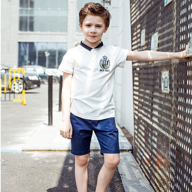 2016 Summer Boys T Shirts Short Sleeve Kids Polo Shirt Clothes With Cartoon Solid Color Collar Children's Tops Tees Brand