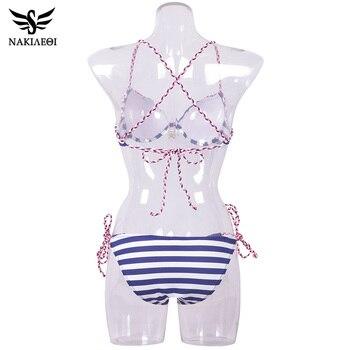NAKIAEOI 2018 Sexy Bandage Bikini Push Up Swimwear Women Brazilian Bikini Set Bathing Suit Underwire Swimsuit Summer Swim Wear 5