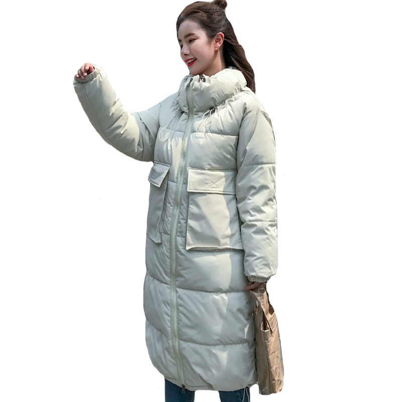 Korean Style 2019 Women Winter Jacket Stand Collar Padded Warm Thicken Female Coat Long Oversized   parka