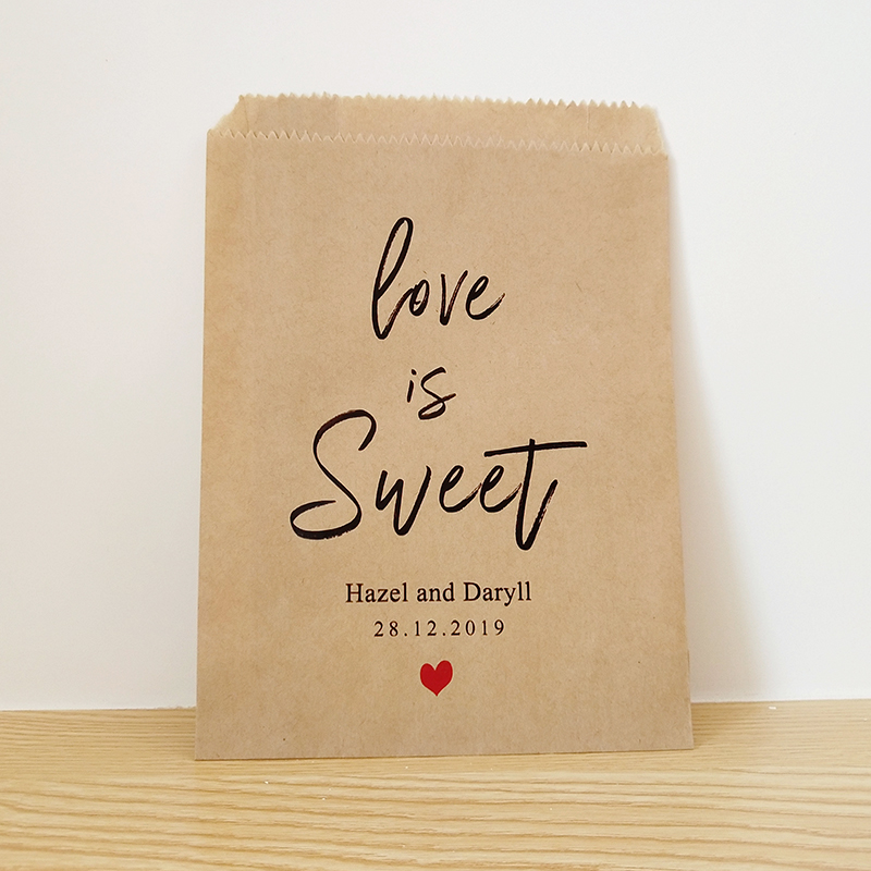Love Is Sweet Personalized Couple Name And Date Wedding Favor Bags,Custom Cookie And Treat Bag,Bridal Shower Party Candy Bags