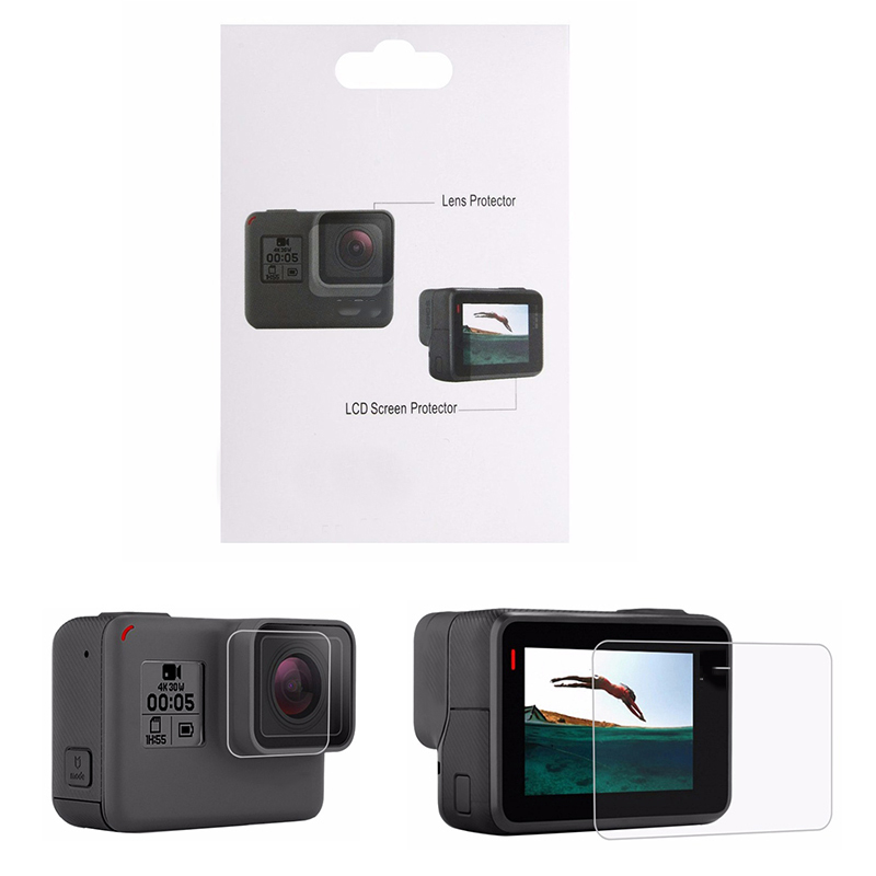 Action Camera Accessories Tempered Glass Film LCD HD Screen Protector Dustproof Protective film for GoPro HERO 7 6 5 tempered glass protector cover case for gopro go pro hero 5 6 7 hero5 hero6 hero7 black camera lens lcd screen protective film