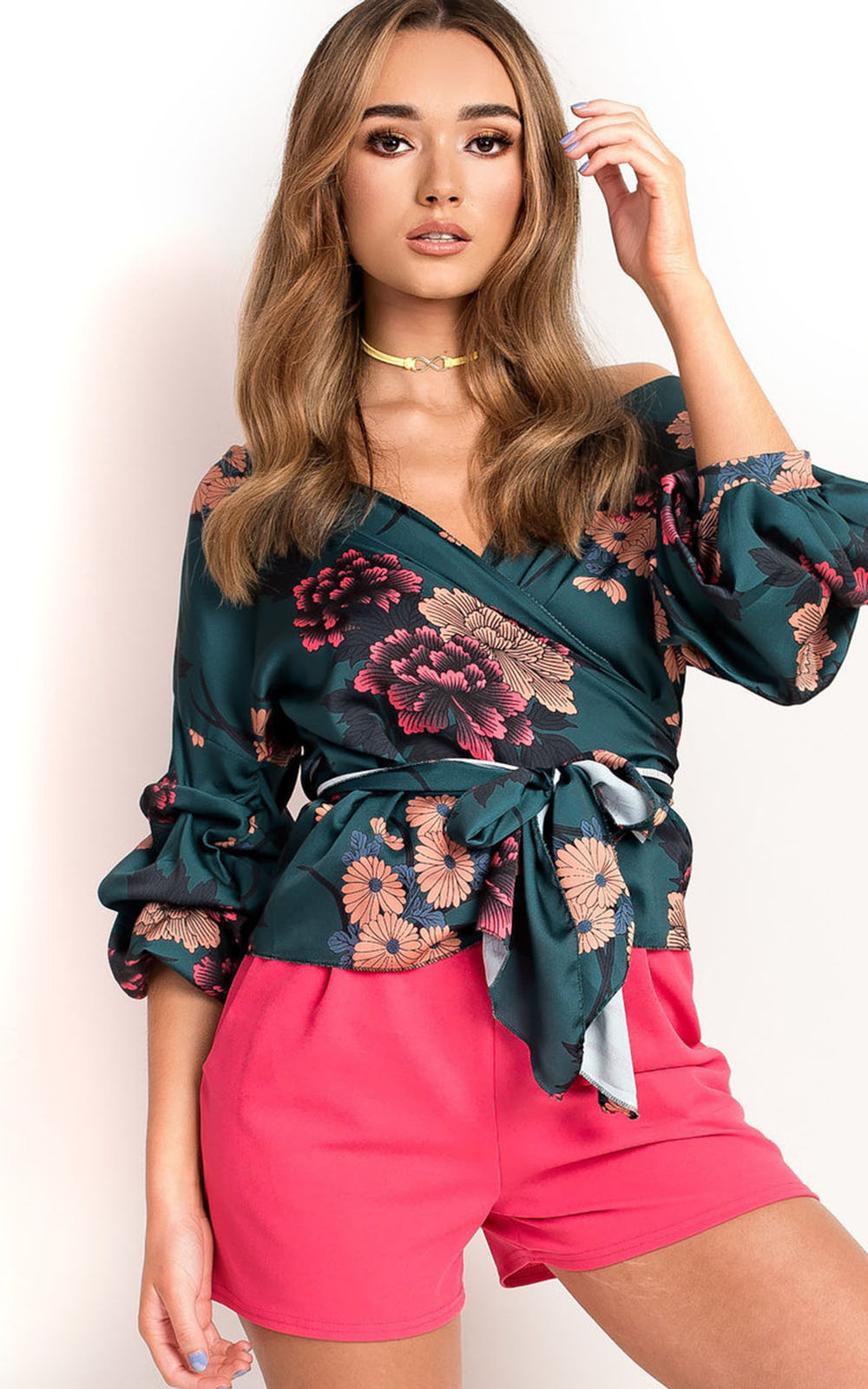 Courtes rose vert jaune New Noir Manches Nous Tops De Blouse Casual blanc Mode V Floral D'été Femmes cou Hot Tunique OpxawBnOqT