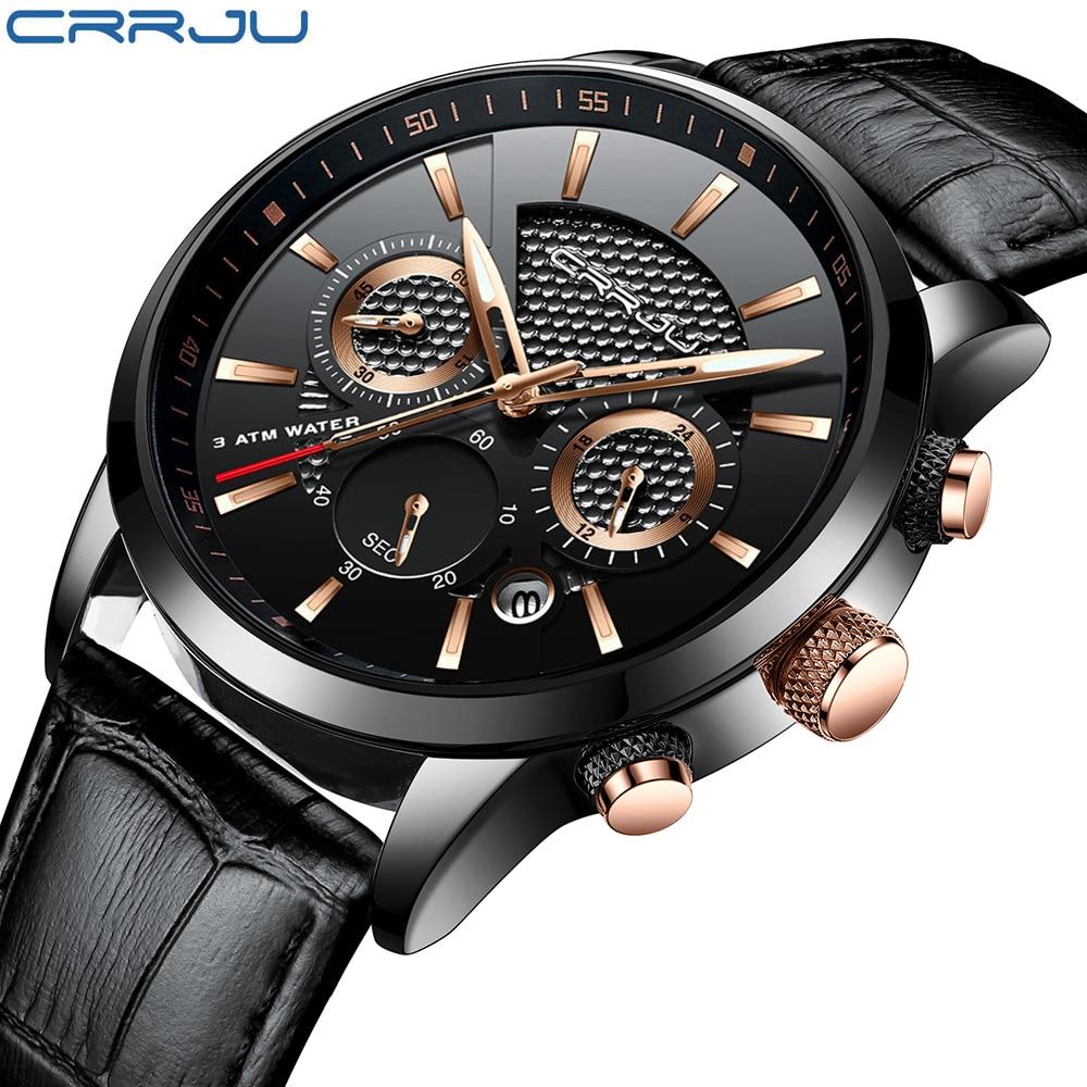 купить CRRJU Fashion Watch Men Leather Top Luxury Military Quartz Wristwatches Waterproof Outdoor Sports Watches Relogio Masculino по цене 1118.18 рублей