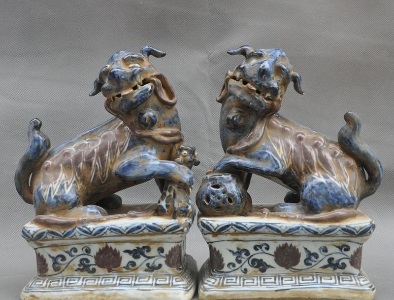 China Fengshui Old Porcelain Glaze Evil Guardian Door Foo Dog Lion Statue Pair