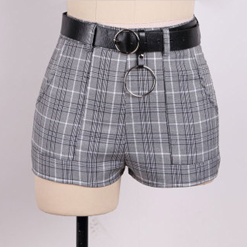 Women Harajuku Grey Plaid High Waist Punk   Shorts   with Belt Summer Casual Girls Mini   Shorts