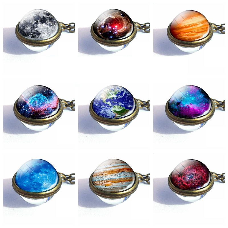2019 Fashion Double Side Glass Ball Necklace Solar System Galaxy Milky Way Jewelry Galaxy Astronomy Pendant Necklace