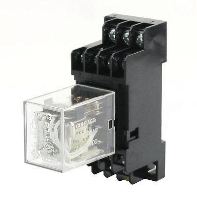 DC12V Curl Voltage 4PDT Electromagnetic Power Relay w 35mm Din Rail Socket цена и фото