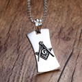Mprainbow Mens Necklaces Stainless Steel Masonic Mason Symbol Compass Dog Tag Pendant Necklace for Men Vintage Fashion Jewelry