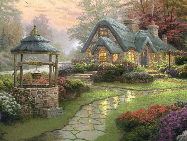 New Mosaic Full Diamond Embroidery Beads Garden Cottage Woods Flower Landscape Diamonds Cross Stitch Painting Inlay