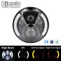 7Inch H4 H13 Round Led Headlight For Harley With Halo Angel Eye DRL Turn Signal Lights