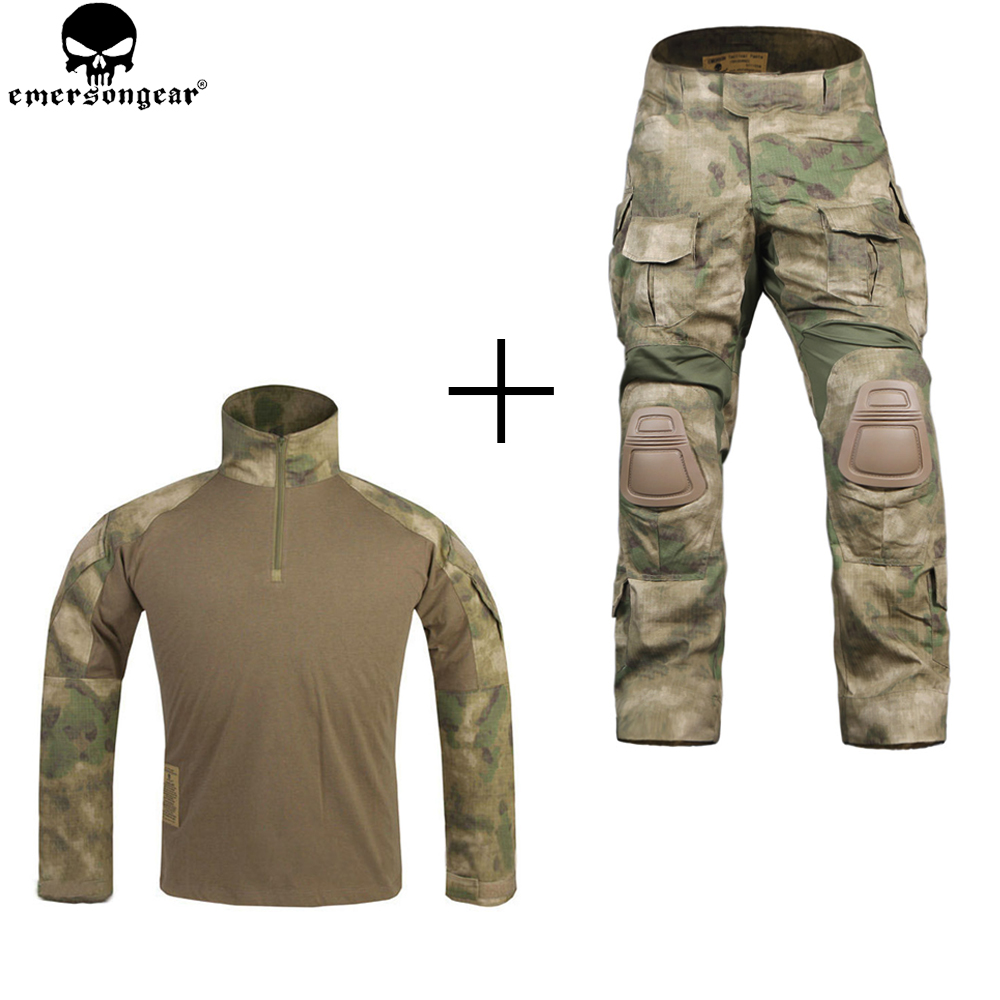 EMERSONGEAR Combat Uniform Hunting Pants with Knee Pads Multicam Shirt Camouflage emerson Pants G3 men Suit Atfg emersongear combat uniform hunting pants with knee pads multicam shirt camouflage emerson pants g3 men suit atfg