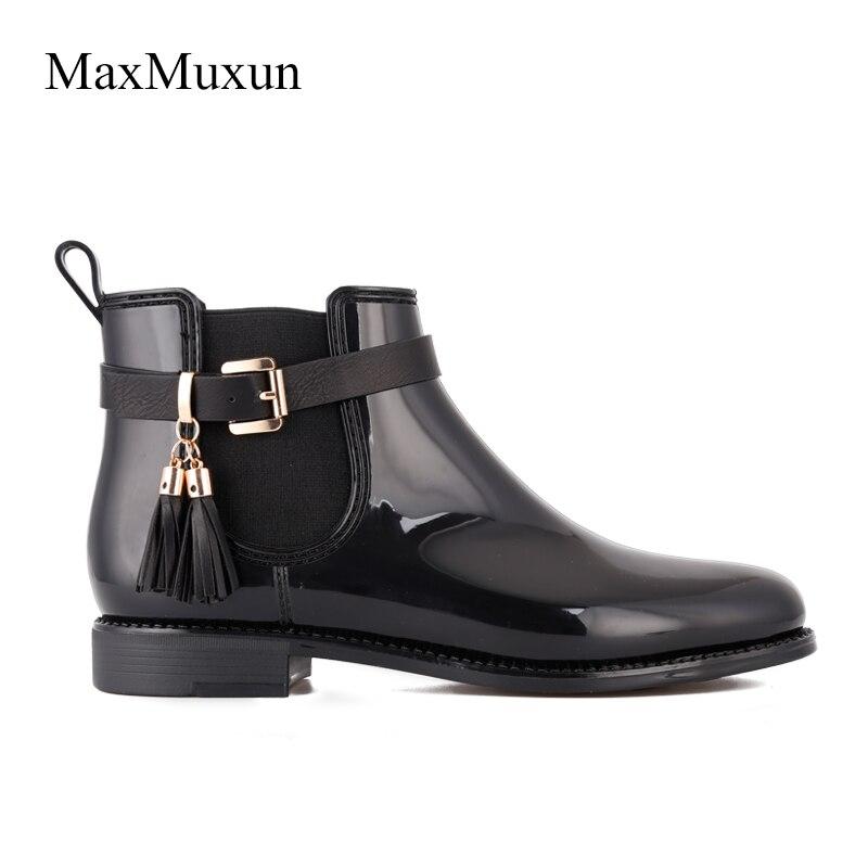 9ac3e71e5d Botas de lluvia de goma de invierno MaxMuxun para mujer Botines de nieve  casuales de flecos negros impermeables para mujer zapatos de calzado grueso  en ...