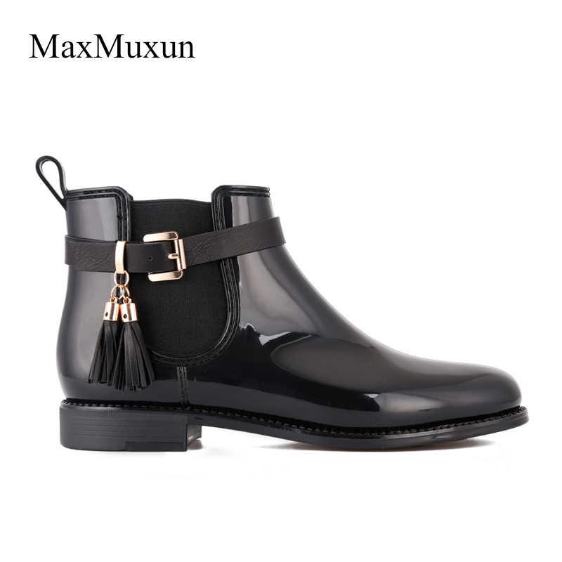 MaxMuxun kadın kauçuk ayak bileği yağmur çizmeleri siyah saçak rahat kar patik kadın su geçirmez kayma tıknaz ayakkabı ayakkabı