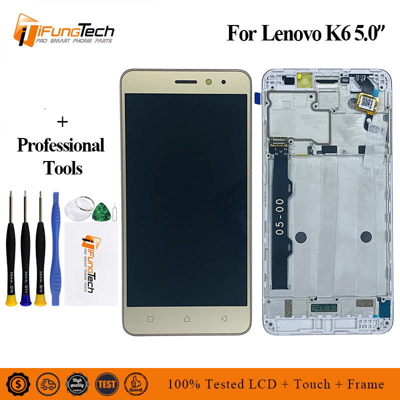 100% Tested 5.0 Inch For Lenovo K6 K33b36 K33b37 / K6 Power K33a42 K33a48 Touch Screen Digitizer Glass + LCD Display