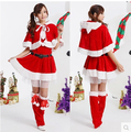 Hot Sale Christmas Women Costumes Sets Red Strapless Dress with Cloak