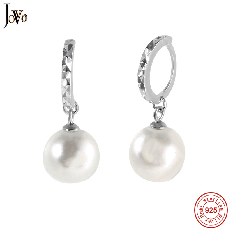 JOVO Fashion Freshwater Pearl Earring Accessories 925 silver jewelry Pearl Jewelry White Pearl Hoop Earrings For Women/Girls