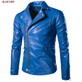 2016 Blue And Black Motorcycle Leather Coat European And American Style Jacket Designer Mens Leather Coat Plus Size M-5XL