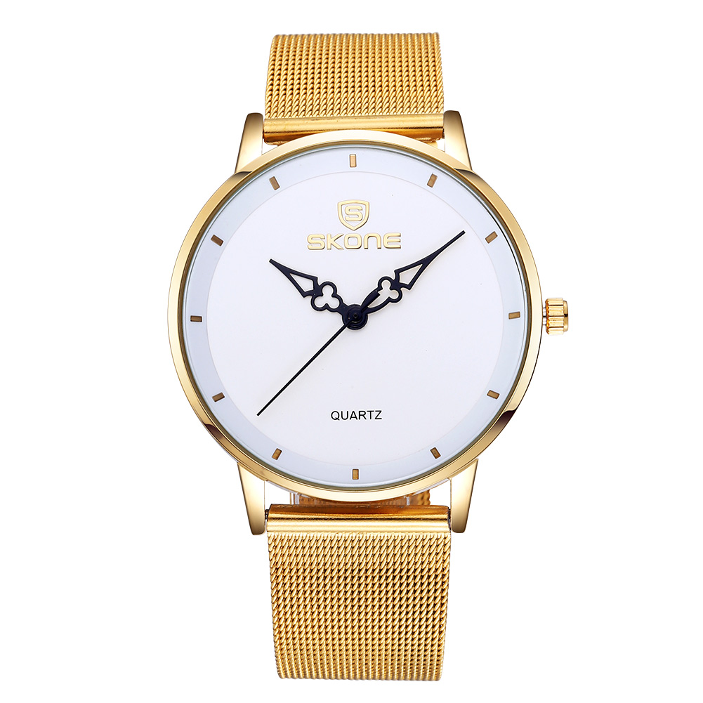 ФОТО Top Brand SKONE Women Watches Net Belt Stainless Steel Band Quartz Wristwatch Gold Ultrathin Dial Luxury Watch Women relojes