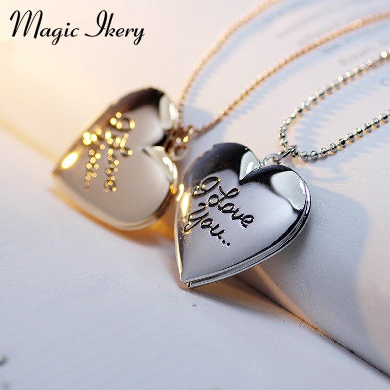 Magic Ikery Photo memory floating locket Heart Найкращий друг Я тебе люблю Лист Фоторамка Кольє Жіночі Модні ювелірні вироби MKA53