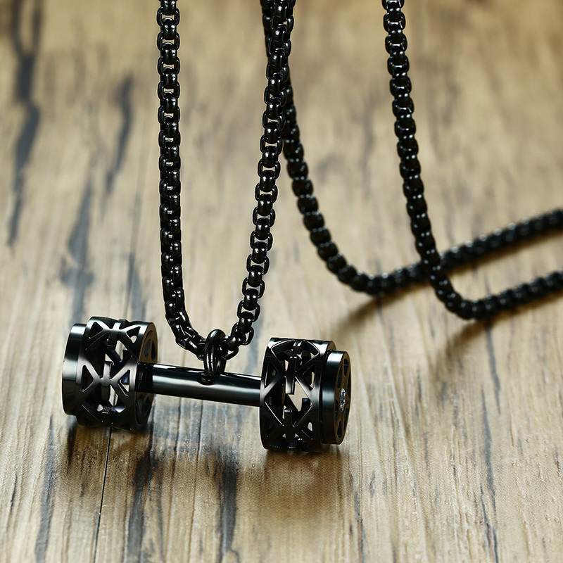 Barbell Dumbbell Hollow Pendant Necklace Out Sport Fitness B