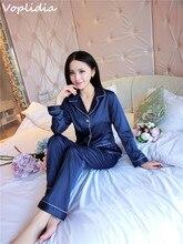 Voplidia Пижамы Женщин 2016 Новая Осень Осень Стежка Пижама Pijamas Установить Пижамы Пижамы для женщин Pijama Feminino