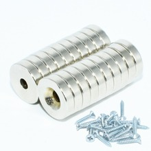 NdFeB Countersunk Magnet Diameter 12mm With Screw Hole 3mm 4mm 5mm Thick Neodymium Rare Earth Permanent Magnetics 20pcs
