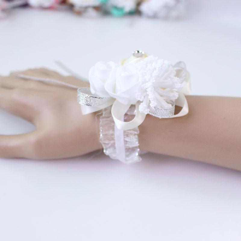 wedding wrist corsage Bracelet bridesmaid rose silk white pink marriage wrist corsage  (250)