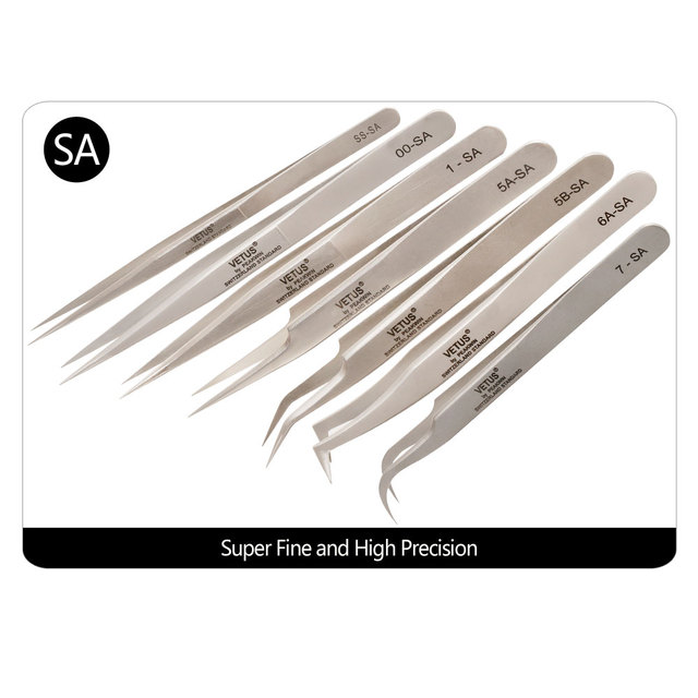 Makeup Professional Eyelash Tweezers 3D Volume Eyelash Extension Tweezer Fan Lash Eyebrow Tweezers VETUS Excellent Closure 2