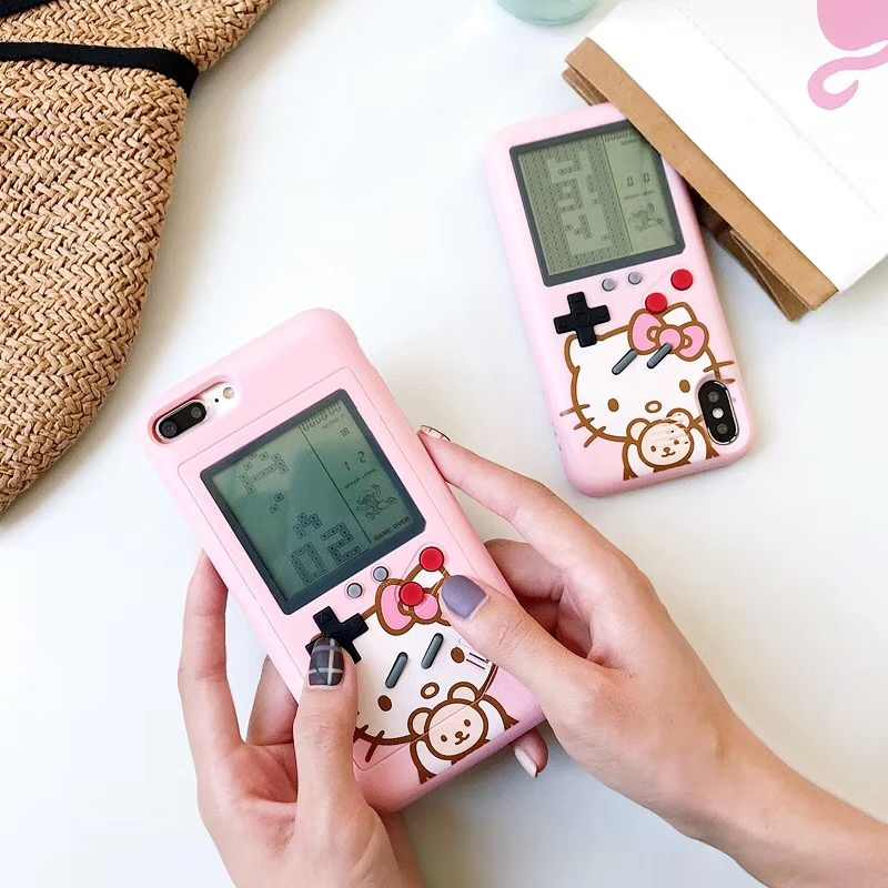 the best attitude bf45e 85398 Tetris Game Machine Phone Case For iPhone 6 6S Plus Cover Retro Game  Console Case For iPhone 7 8 Plus X XS XR Max Hello Kitty