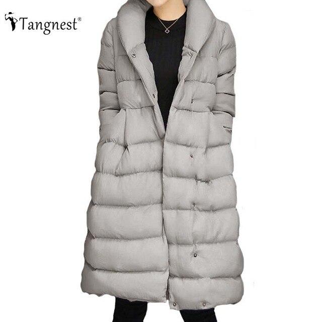 TANGNEST Nerural Das Mulheres Inverno Para Baixo Casaco 2016 Moda Quente Solta Europeia Plus Size Outwear Parka Casacos Longos WWM1508