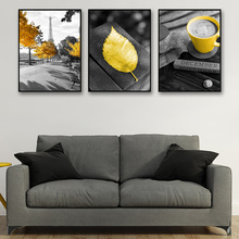 Yellow Leaf Poster Nordic Gray Canvas Painting Paris Tower Prints Cappuccino Posters And Unframed