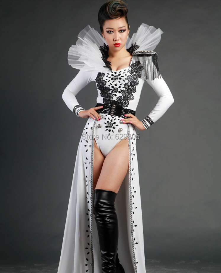 Sparkly White Black Rhinestones Epaulet Tassels Bodysuit Female Dance Troupe Jazz Dance Outfit Dj Singer Sexy Fashion Stage Wear Women's Clothing