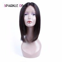 Sparkle Diva Glueless Lace Front Human Hair Bob Wig For Black Women Silky Straight NaturalColor Peruvian