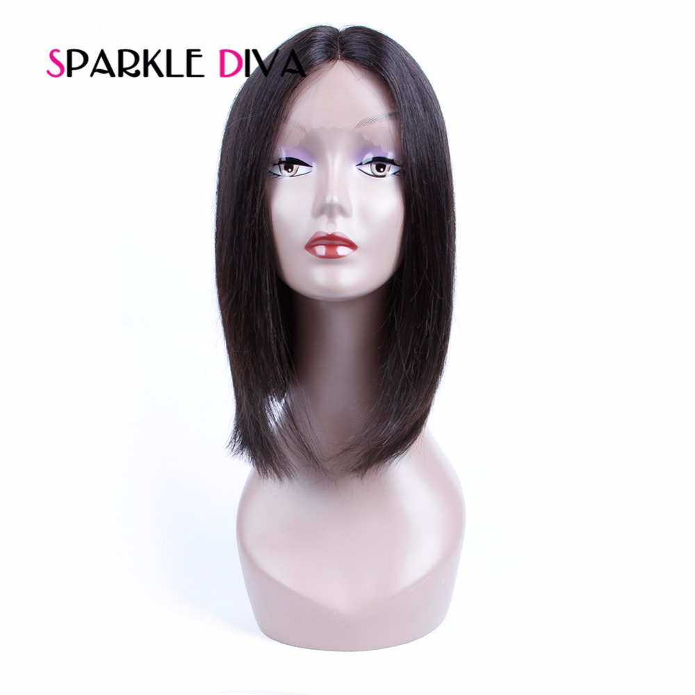 [SPARKLE DIVA HAIR] Lace Front Human Hair Wigs For Black Women Peruvian Hair Silky Straight With Baby Hair Pre Plucked Non Remy