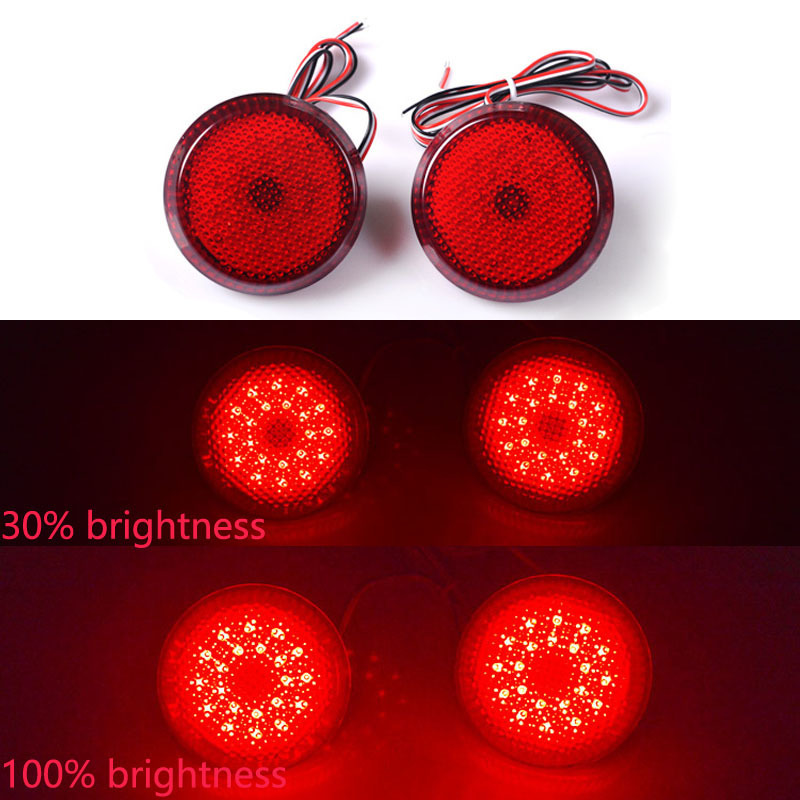 цена на 2 Pcs Car LED Tail Rear Bumper Reflector Lamp Round For Nissan/Qashqai/for Toyota Sienna/Corolla Scion Trail Brake Stop Light